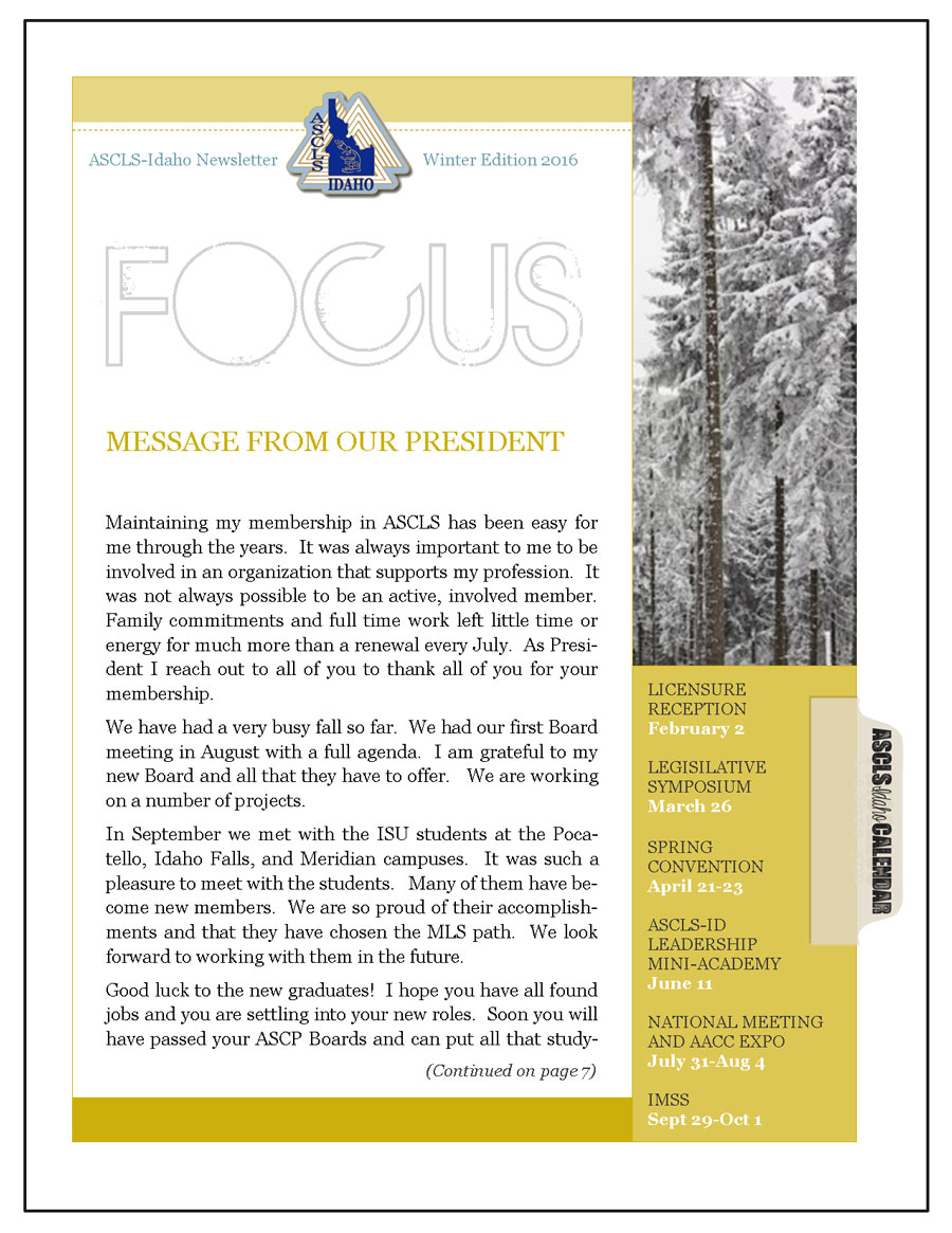 ASCLS-Idaho FOCUS Newsletter Winter 2016