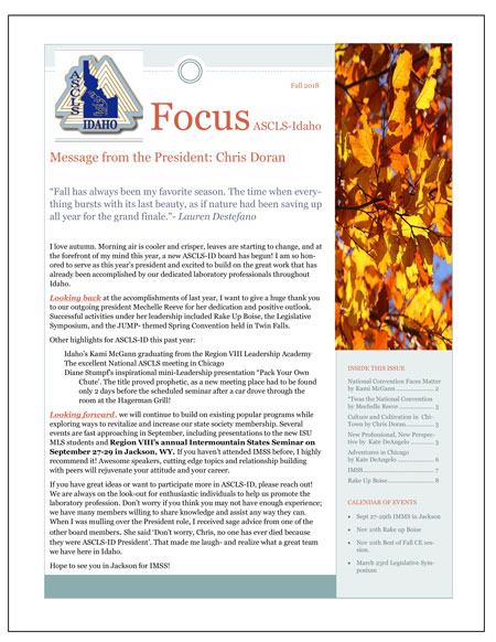 2018 Fall ASCLS-Idaho FOCUS Newsletter